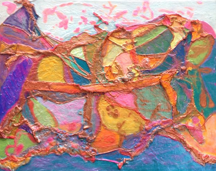 Path- an imaginary Landscape Acrylic Paint over ripped canvas and string. 20 x 16 ( acrylic iridescent paint used) #artforsale