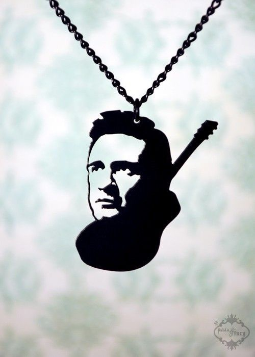 Johnny Cash Guitar tribute necklace in black by FableAndFury, $26.00