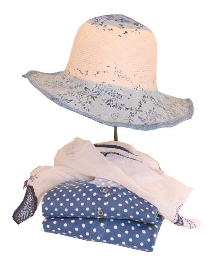 SUMMER! HANDPAINTED HAT AND BLUE LOOK AT RIALTO LIVING