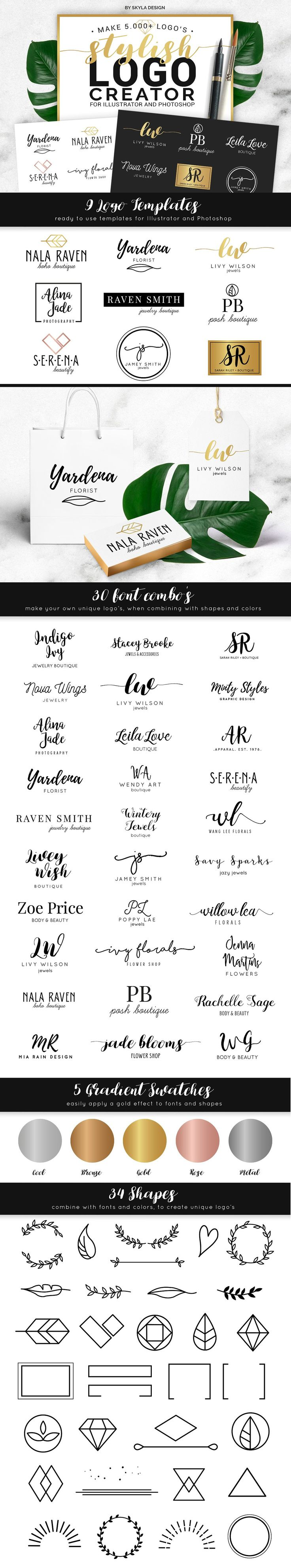 Stylish Logo Creator Kit AI + PS by skyladesign on @creativemarket