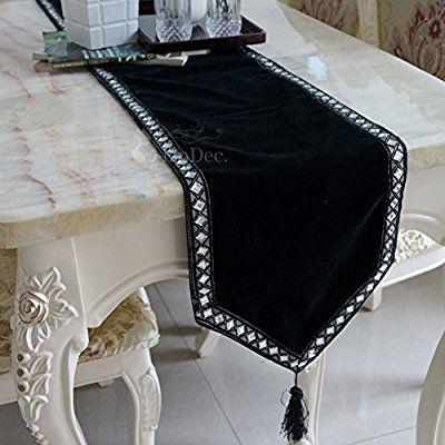 corredor de la tabla para el diamante/Paño de terciopelo negro de moda minimalista moderna/mantel/bandera de paño de mesa de café-A 30x200cm(12x79inch)