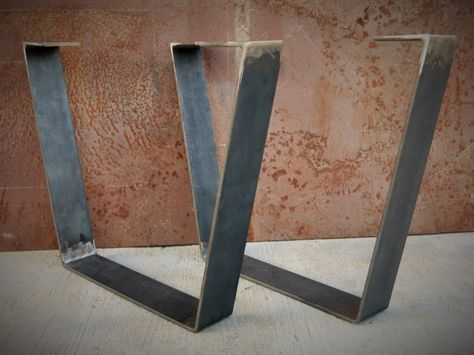 this table leg design is simple yet very modern they are in the shape of a trapezoid and the bottom width is about 6 inches smaller