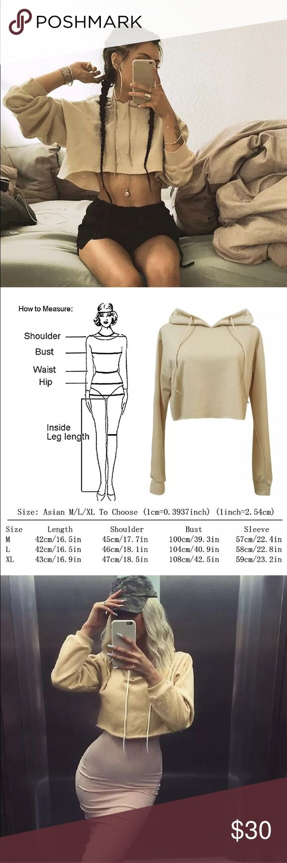 Hot new crop hoodie  Chic trendy celebrity hipster Kylie Jenner kardashian style crop pullover  hoodie  Material: cotton  Unbranded Please refer to size chart for sizing and measurements If the item doesn't fit you can not return *posh policy*  Color may be slightly different in person due to  picture lighting Remember every body type is different so the fit on you may not be exact like the model  NO TRADES Can take up to 10 business days to ship Only discount through bundles Tops…