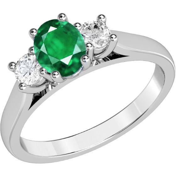 Inel cu Smarald si Diamant Aur Alb 18kt cu un Smarald Oval si 2 Diamante Rotund Briliant in Setare Gheare - RDM493W - pe www.royaldiamante.ro