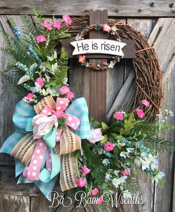 He Is Risen Spring Wreath Spring Floral Spring by BaBamWreaths