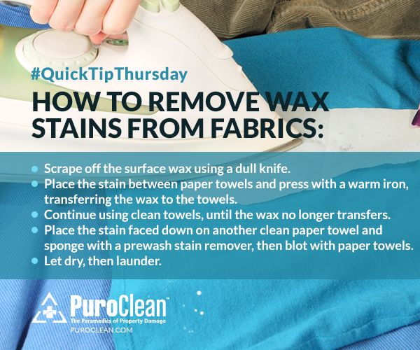 Click the image below to learn how to remove wax stains from fabrics. #CleaningTips #ClothesCleaning