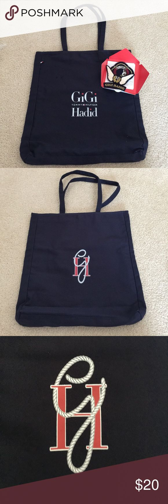 Gigi Hadid for Tommy Hilfiger Tote bag brand new Gigi Hadid for Tommy Hilfiger tote bag navy blue with patches . Brand new never used comes in original plastic . Cotton tote with iron on patches . Mint condition Tommy Hilfiger Bags Totes