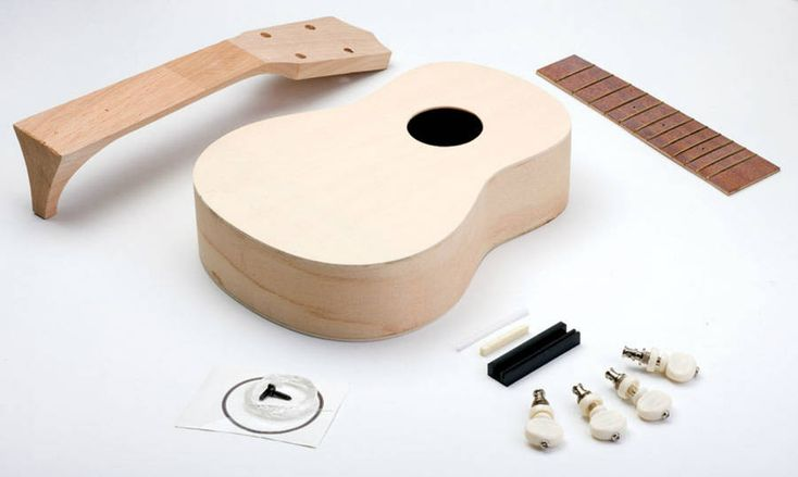 Ever wanted to learn how to play the Ukulele.....Now not only can you learn, you can build and decorate it yourself!This would be a great gift for a musical instrument enthusiast or even a craft enthusiast with a love of music! This unfinished wood kit is easy to assemble (the body arrives in one piece, you attach the neck and strings using only glue and sandpaper) and hey presto, it's ready to be decorated with your choice of paint or stain. The completed Ukulele is a standard soprano…