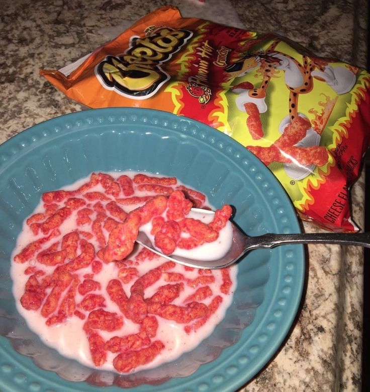 And cheetos with milk which is somehow even worse food