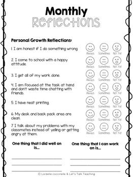 Self Assessment: Monthly Reflections Leader in Me Data Notebooks
