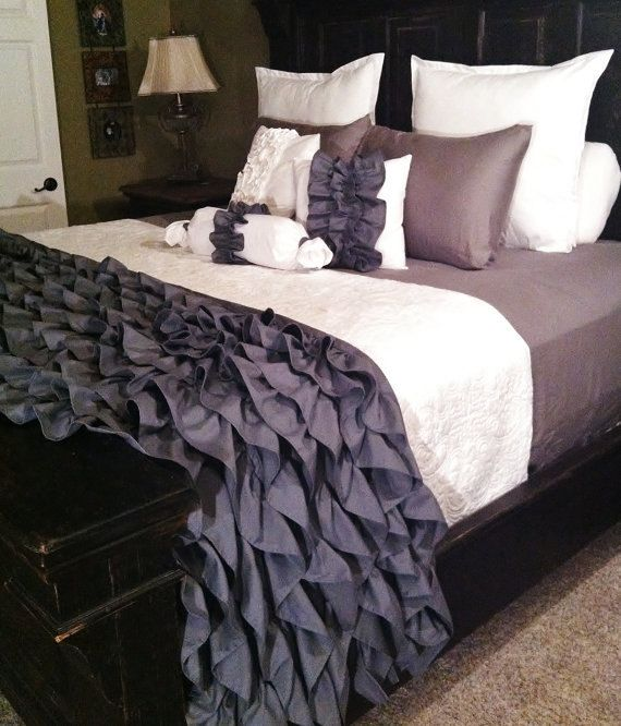 Gray Ruffled Bedding by LikeMyMotherDoes on Etsy, $115.00