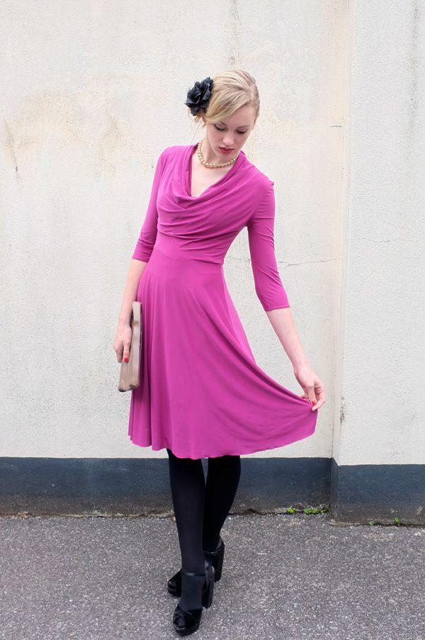 luxurious magenta stretch jersey dress