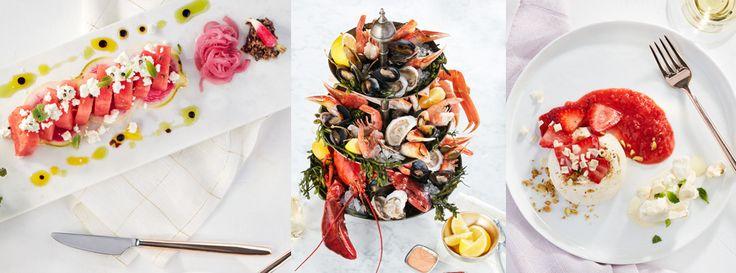 Image of watermelon salad, seafood platter and pavlova