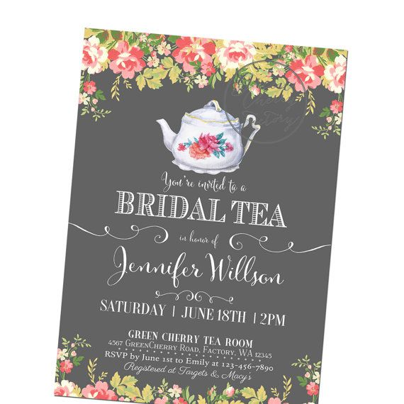Birdal Tea Party Invitation  Lavender  ANY by GreenCherryFactory, $18.00