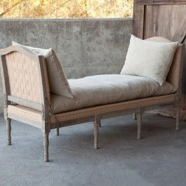 -Beautifully crafted of gray washed oak frame and metal strap details-Stiched burlap base, muslin cushions, woven upholstery webbing ends-Will be delivered on a pallet-Dimensions: 71