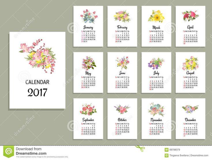 Vector Illustration Of Floral Calendar 2017 Stock Illustration - Image: 69788379