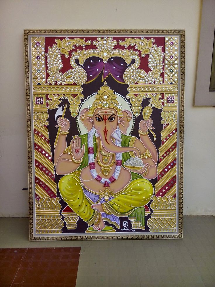 "Mud & mirror work penting shree ganesh 36""×48"" ₹/-6000/- 1 pis. Dilawar charge axtra."