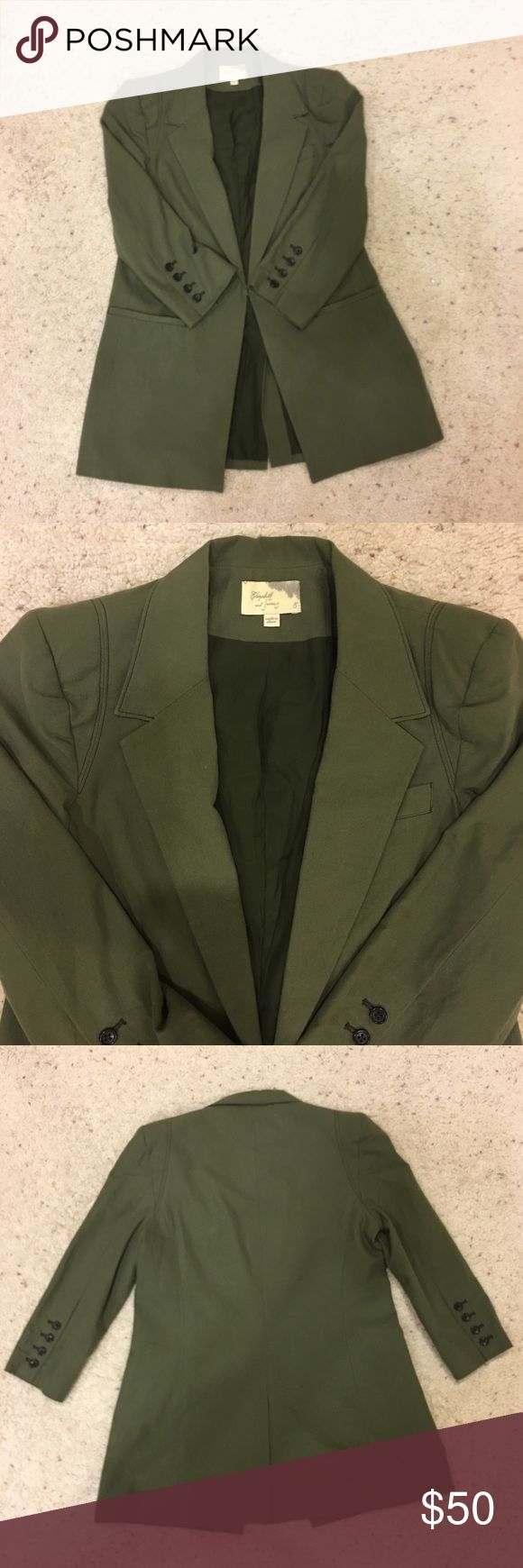 Elizabeth and James Olive Green Blazer 8 Like new. I only wore it a couple of times. 100% Cotton / Lining 100% silk. True to size Elizabeth and James Jackets & Coats Blazers