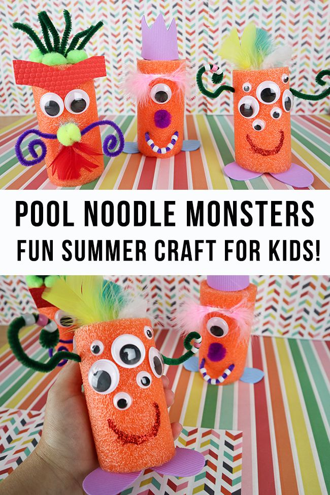 DIY Craft: Pool Noodle Monsters - Fun Summer Craft for Kids! Super fun Dollar store craft for kids