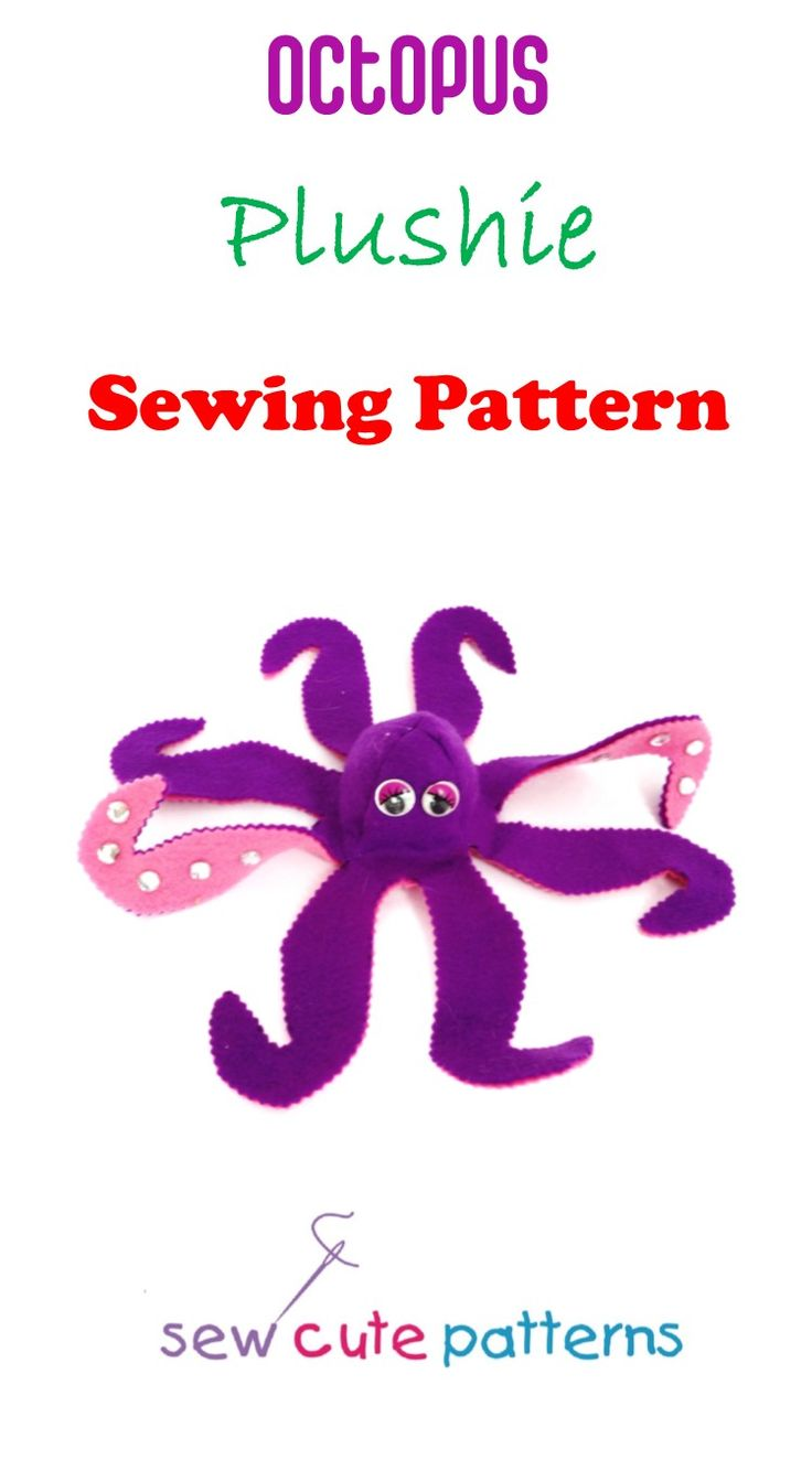 Octopus sewing pattern includes instructions and pattern pieces to make a cute plush octopus!  Easy pattern is perfect for beginners.  Your pattern purchase includes a fun bedtime story for kids.  Read the story of Olivia and her Pet Octopus and then make your own customized pet octopus!  So much fun and interactive for kids.  Patterns are available for instant PDF download.  Visit www.sewcutepatterns.com to learn to make your own stuffed animal and other soft toys.