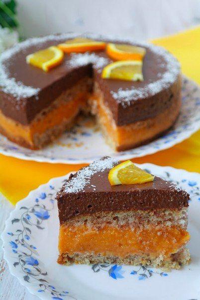 Шоколадно-абрикосовый торт (постный)