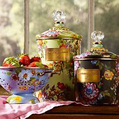 Just for the kitchen . . .Gives a vintage look - floral design on colander and 2 canisters - lovely