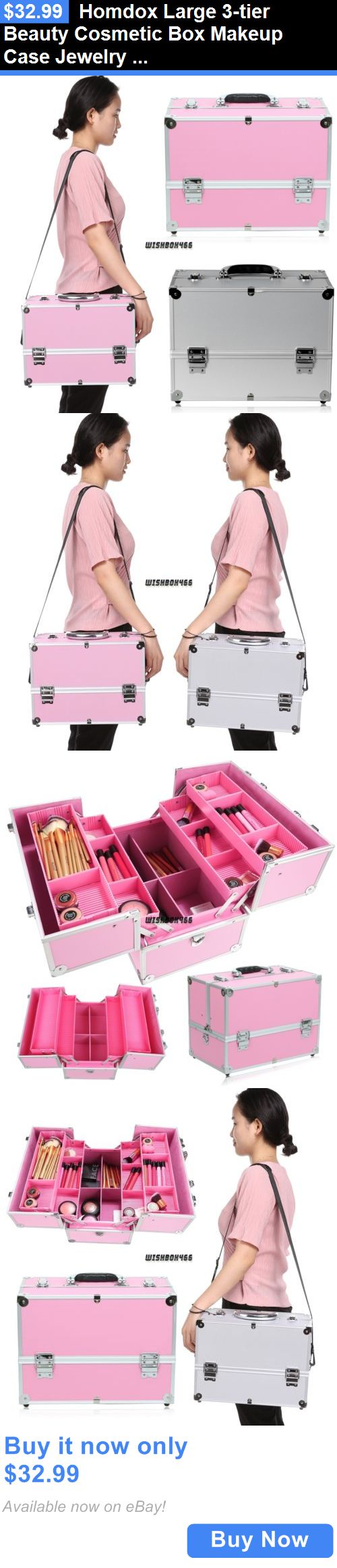 Beauty Makeup: Homdox Large 3-Tier Beauty Cosmetic Box Makeup Case Jewelry Train Case Organizer BUY IT NOW ONLY: $32.99