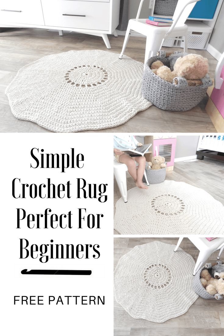 A Simple Crochet Rug Pattern That Uses The Best Yarn For Rugs Crochet Rug Patterns Easy Crochet Rug Patterns Crochet Rug Patterns Free
