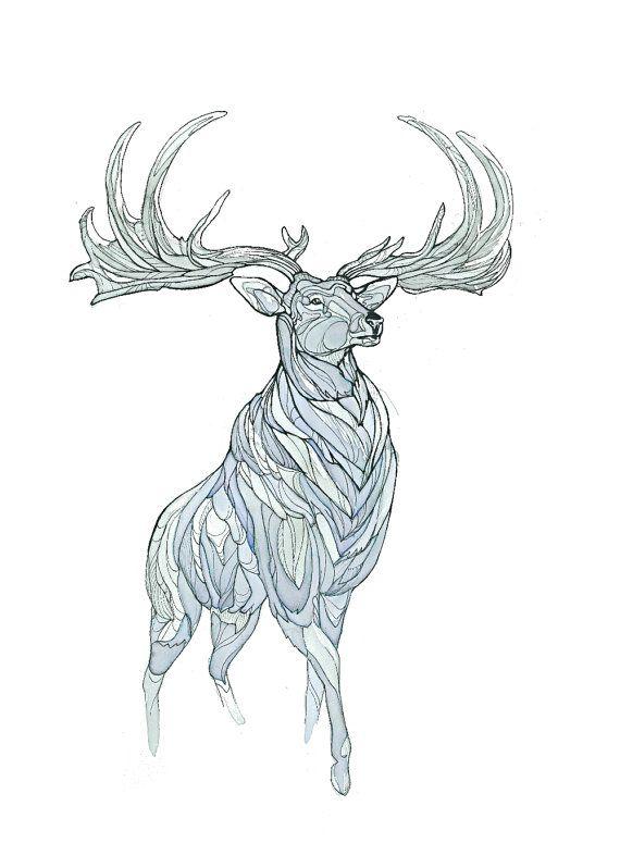 Irish Elk by EmeraldRyanArt on Etsy, $30.00