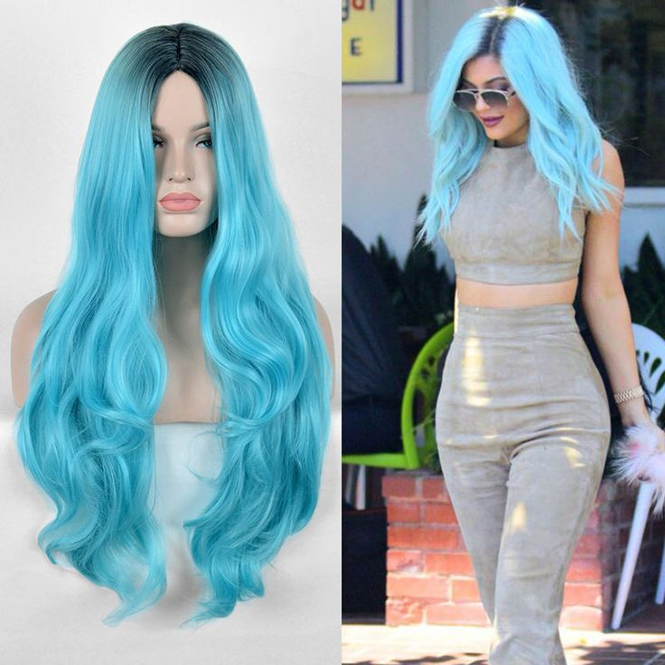 Kylie Jenner Black Green Wig Long Natural Straight Duck Egg Blue Hair Wigs #WIG #Layered