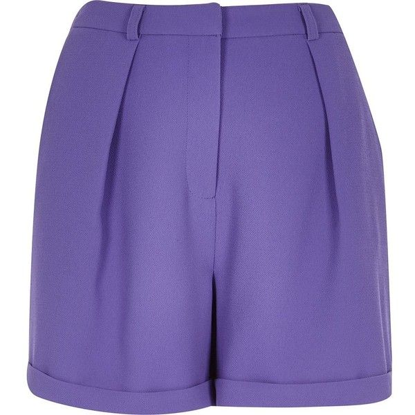 River Island Purple smart tailored shorts (330 ZAR) ❤ liked on Polyvore featuring shorts, purple, sale, women, tall shorts, river island, purple shorts, tailor vintage shorts and purple cargo shorts