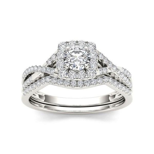 De Couer 10k White Gold 3/4ct TDW Diamond Halo Bridal Ring Set (H-I, I2)