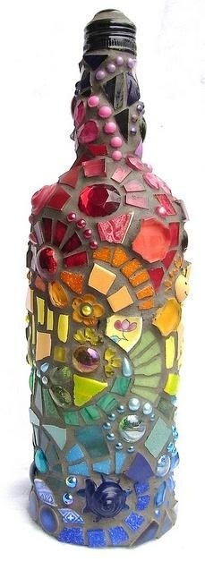 Mosaic wine bottle, then turn into a table top torch!... SWEETPEA !!!!!!!!!!!!!!!!!