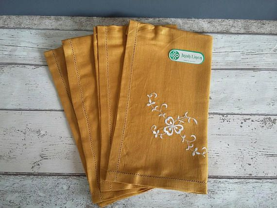 Mustard Irish Linen Placemats // Embroidered Shamrock // Set