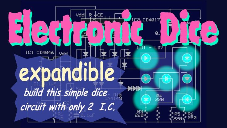 *Electronic Dice circuit*  Build a 7-LED electronic dice using CD4046 PLL and CD4017 decade counter. Expandible to multiple dice with single push-button action .