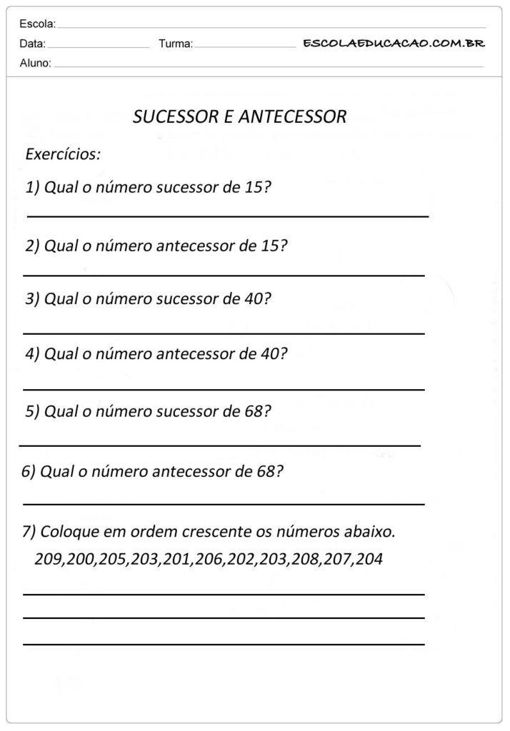 Atividade Sequencia Numerica Sucessor E Antecessor Questao