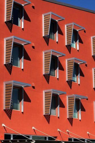 sun shades (This looks like the UC Davis net zero student housing development?)