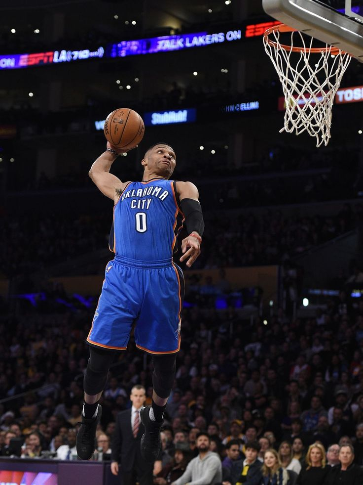 Oklahoma City Thunder guard Russell Westbrook (0) attempts a dunk during the second quarter against the Los Angeles Lakers at Staples Center.  Kelvin Kuo, USA TODAY Sports