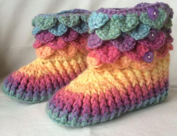 Handmade Crochet Girls Slipper Boots Infant Size UK 6-8 Multi Coloured on Etsy, $180.18