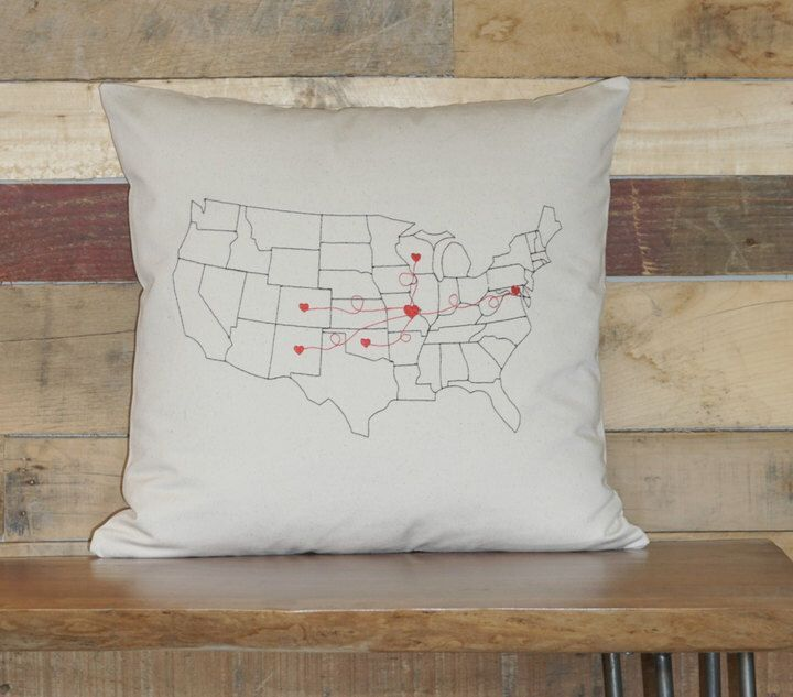 Etsy Personalized Map Pillow , Embroidered, Long Distance Relationship , Long Distance Friend, Christmas gift    #family #relationships #love #decor #ad