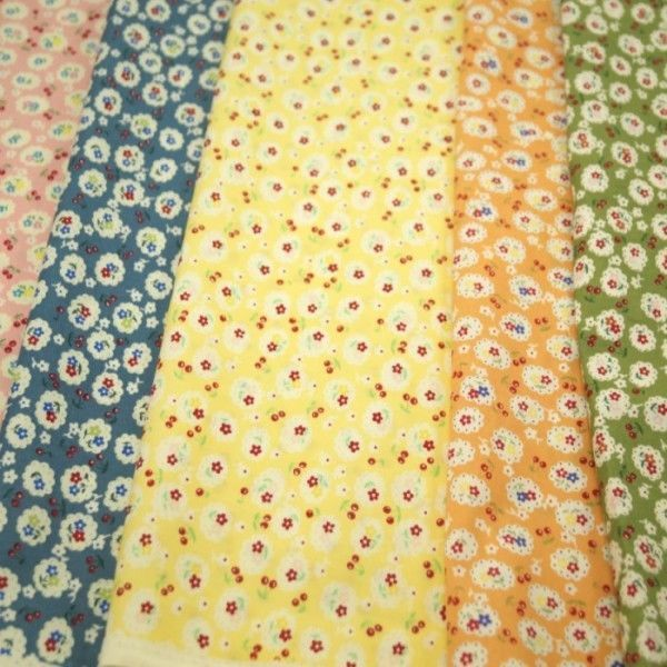 Flowers And Cherries Multi Coloured 100% Cotton Poplin Fabric