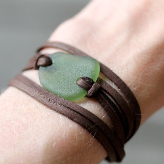 Sea Glass & Leather Wrap Bracelet or Necklace - Olive Seaglass