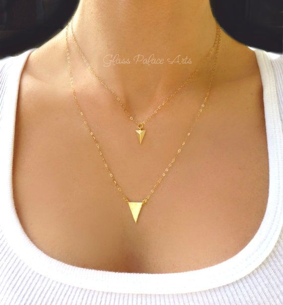 Chevron Necklace Geometric Necklace Gold by GlassPalaceArts