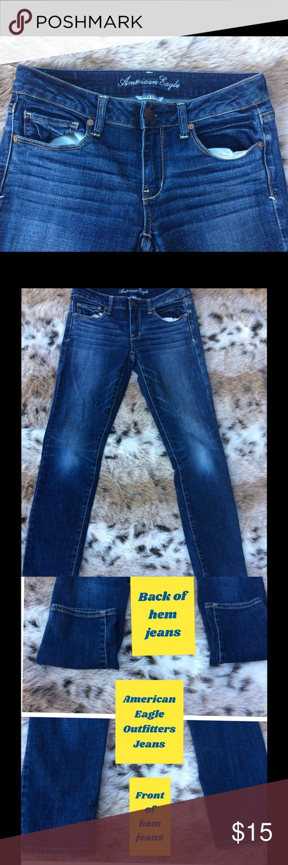 American Eagle Outfitters Size 6 Short Jeans👖 American Eagle Outfitters jeans Size 6 Short Skinny fit Super Stretch Style # 2936884495 Rn# 54485 CA# 03873 made out of 99% Cotton and 1 % Spandex look at pic # 3 shows front not and back of jean bottom hem - pic#4 shows some areas of wear and one one spot on the left leg- measurements-1:) Hips- 15 11/16, 2:) Inseam- 29 3/4, 3:) Outseam-37 5/16, 4:) Leg Opening - 5 3/16, 5:) Front Rise-7 1/2, 6:) Back Rise- 12, 7:) Hips-30 - good condition…