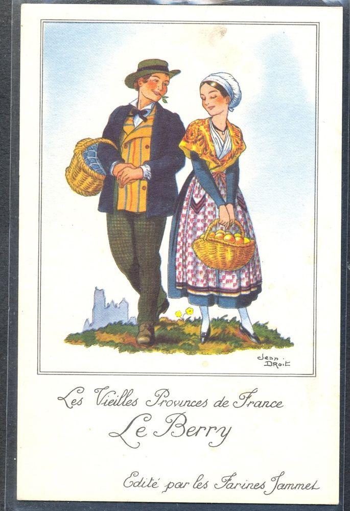 """QN101 a/s JEAN DROIT FRENCH COSTUME FOLKLORE COUPLE """"LE BERRY"""""""