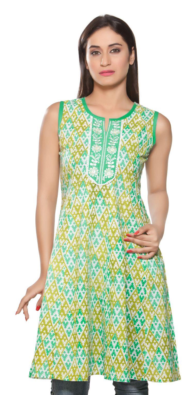 Rangmanch Women's Kurta Tunic- Sleeveless & Embroidered Neck Yoke