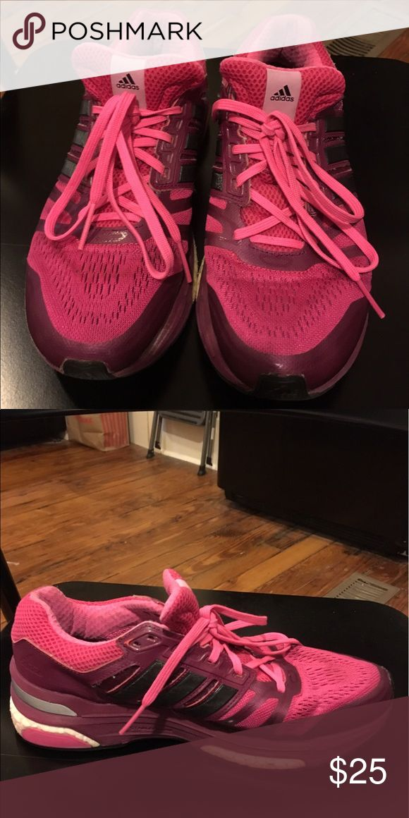 Pink adidas boost running shoes Used pink adidas boost running shoes. Still in good, clean condition & comfortable. Asking for 25$ or best offer! adidas Shoes Sneakers