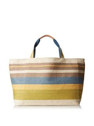 57% OFF J. McLaughlin Women's Piper Flax Tote Bag, Indigo Blue/Multi Stripe