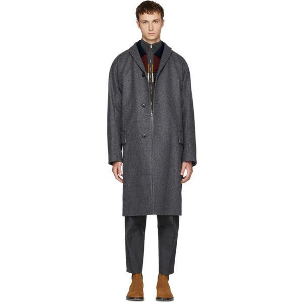 Kolor Grey Long Wool and Cashmere Coat (13.461.635 IDR) ❤ liked on Polyvore featuring men's fashion, men's clothing, men's outerwear, men's coats, grey, mens long coat, mens gray wool coat, mens wool coats, mens gray pea coat and mens grey coat