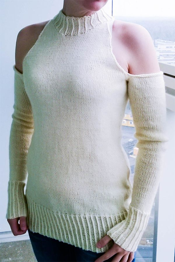 3648c0856984cd Knitting Pattern for Low Winters Sun Sweater - Fitted pullover with crew  neck and long sleeves with cold shoulder cutouts. Sizes  XS  S  M  L  XL   XXL .